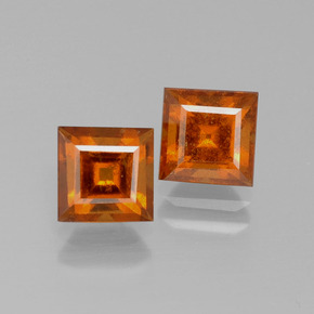Cinnamon Orange Hessonite Garnet Gem - 1.5ct Square Facet (ID: 392576)