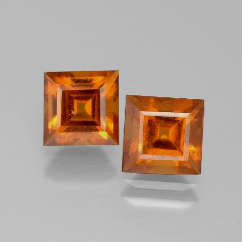 Cinnamon Orange Hessonite Garnet Gem - 1.4ct Square Facet (ID: 392577)