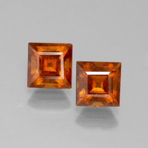 Cinnamon Orange Hessonite Garnet Gem - 1.4ct Square Facet (ID: 392579)