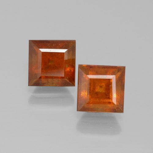 Medium Orange Granato essonite Gem - 1.6ct Taglio quadrato (ID: 392581)