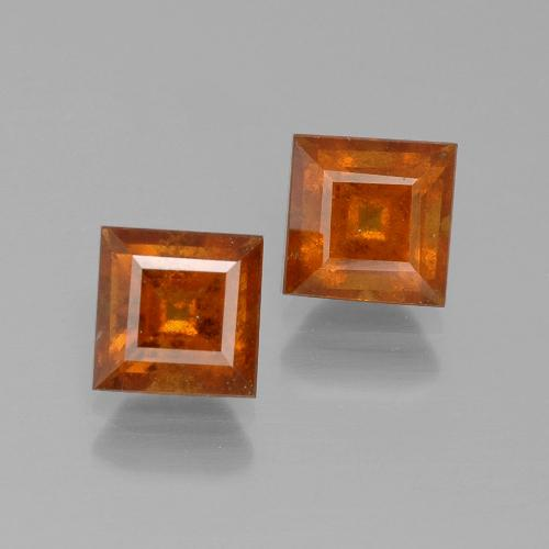 Cinnamon Orange Hessonite Garnet Gem - 1.4ct Square Facet (ID: 392830)