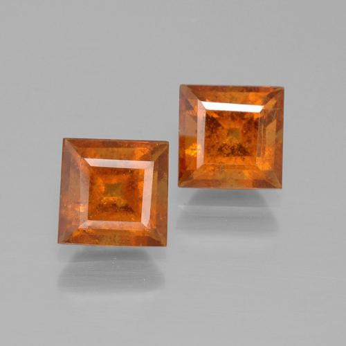 Deep Orange Hessonite Garnet Gem - 1.4ct Square Facet (ID: 392833)