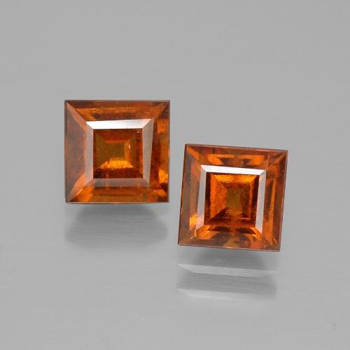 Medium-Dark Orange Hessonite Garnet Gem - 1.2ct Square Facet (ID: 392834)
