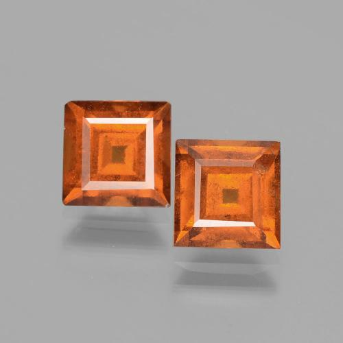 Cinnamon Orange Hessonite Garnet Gem - 1.6ct Square Facet (ID: 392900)