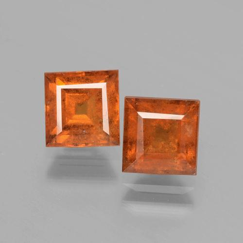 Cinnamon Orange Hessonite Garnet Gem - 1.5ct Square Facet (ID: 392901)