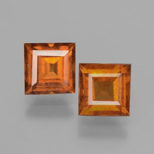 Cinnamon Orange Hessonite Garnet Gem - 1.3ct Square Facet (ID: 392904)