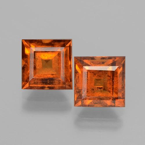 Cinnamon Orange Hessonite Garnet Gem - 1.9ct Square Facet (ID: 392905)