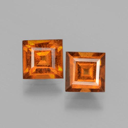Cinnamon Orange Hessonite Garnet Gem - 1.1ct Square Facet (ID: 392909)