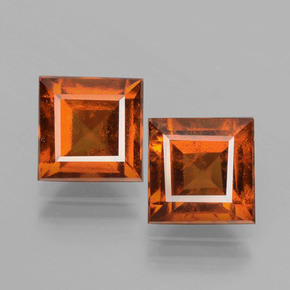 Cinnamon Orange Hessonite Garnet Gem - 1.9ct Square Facet (ID: 392911)