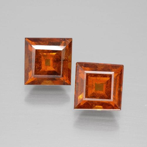 Cinnamon Orange Hessonite Garnet Gem - 1.8ct Square Facet (ID: 392985)