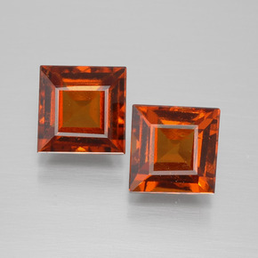 Cinnamon Orange Hessonite Garnet Gem - 2ct Square Facet (ID: 392987)