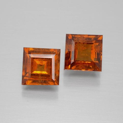 Cinnamon Orange Hessonite Garnet Gem - 1.6ct Square Facet (ID: 392988)