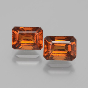 Amber Orange Hessonite Garnet Gem - 1.5ct Octagon Facet (ID: 393727)