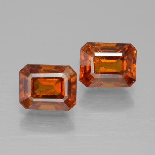 Amber Orange Hessonite Garnet Gem - 1.6ct Octagon Facet (ID: 394868)