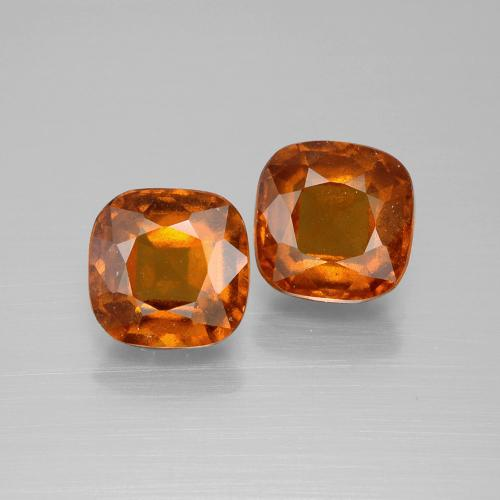 2.8ct Cushion-Cut Medium-Dark Orange Hessonite Garnet Gem (ID: 395198)