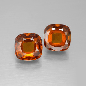 2.6ct Cushion-Cut Medium Orange Hessonite Garnet Gem (ID: 395204)