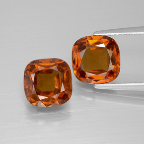 2.4ct Cushion-Cut Reddish Orange Hessonite Garnet Gem (ID: 395208)