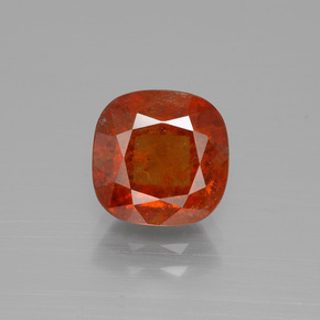 3ct Cushion-Cut Amber Orange Hessonite Garnet Gem (ID: 395430)