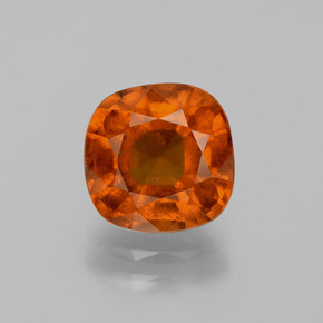 2.9ct Cushion-Cut Amber Orange Hessonite Garnet Gem (ID: 395950)
