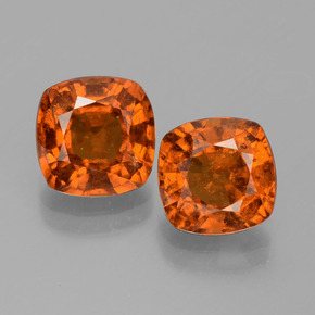 2.3ct Cushion-Cut Deep Orange Hessonite Garnet Gem (ID: 396002)