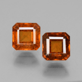 Deep Orange Hessonite Garnet Gem - 1.5ct Octagon Facet (ID: 431200)
