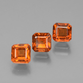 Reddish Orange Hessonite Garnet Gem - 0.8ct Octagon Facet (ID: 431444)