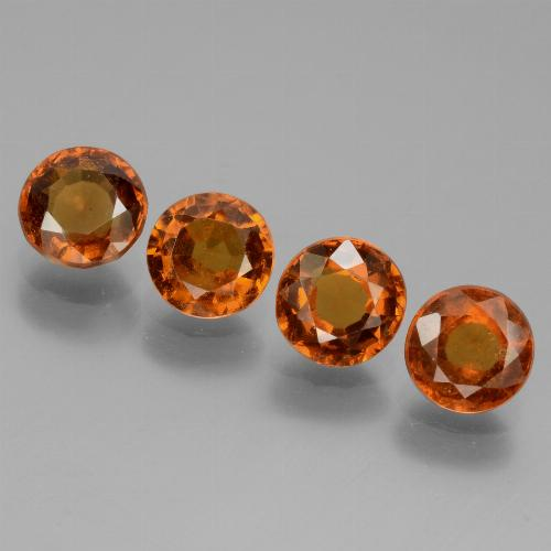 Cinnamon Orange Hessonite Garnet Gem - 1ct Round Facet (ID: 433455)