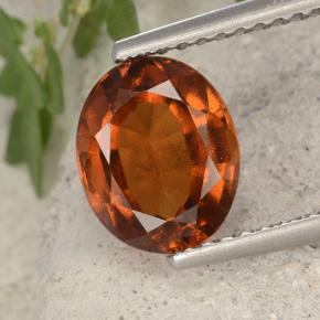 Orange Hessonite Garnet Gem - 2.1ct Oval Facet (ID: 496418)