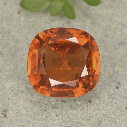 1.8ct Cushion-Cut Deep Orange Hessonite Garnet Gem (ID: 499221)