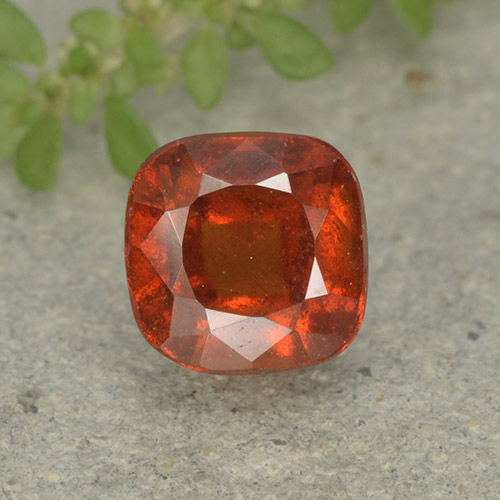 1.9ct Cushion-Cut Deep Orange Hessonite Garnet Gem (ID: 499223)