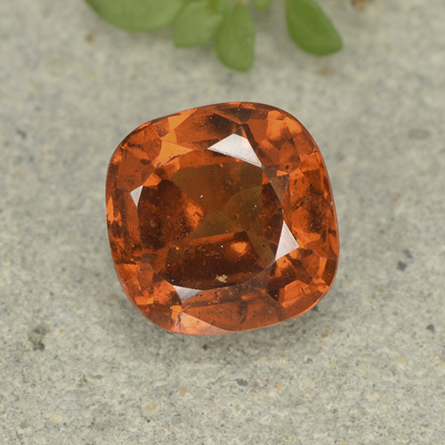 1.9ct Cushion-Cut Medium-Dark Orange Hessonite Garnet Gem (ID: 499224)