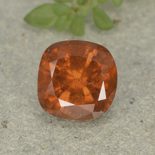 1.7ct Cushion-Cut Medium Orange Hessonite Garnet Gem (ID: 499225)