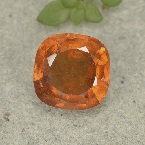 1.6ct Cushion-Cut Medium Orange Hessonite Garnet Gem (ID: 499228)