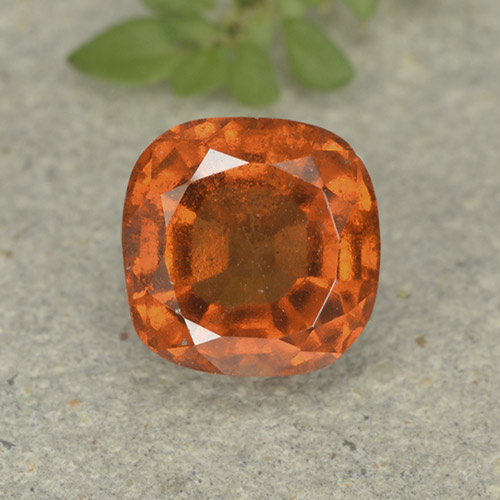 1.9ct Cushion-Cut Deep Orange Hessonite Garnet Gem (ID: 499233)