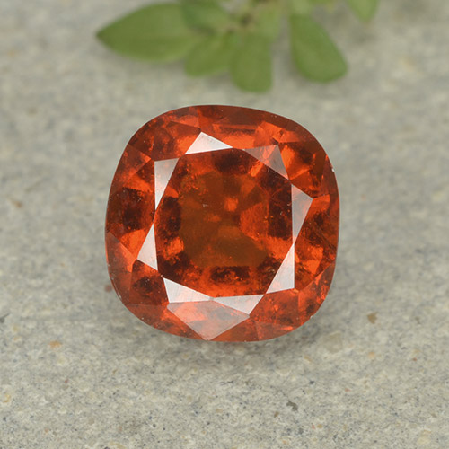 1.9ct Cushion-Cut Dark Orange Hessonite Garnet Gem (ID: 499235)