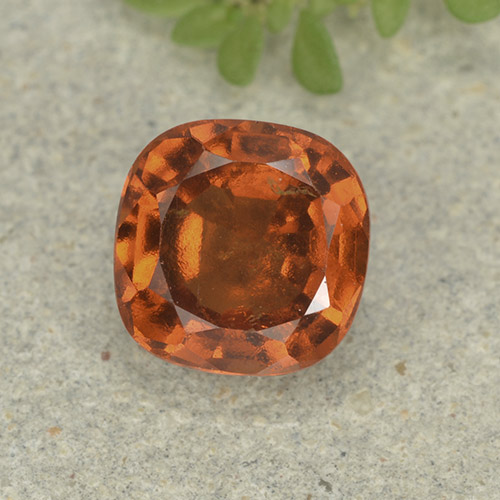 1.8ct Cushion-Cut Medium Orange Hessonite Garnet Gem (ID: 499236)