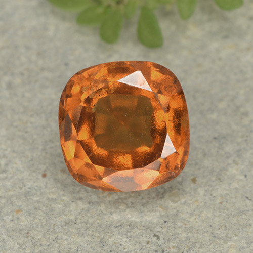 1.9ct Cushion-Cut Medium Orange Hessonite Garnet Gem (ID: 499237)