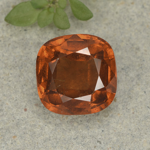 1.9ct Cushion-Cut Amber Orange Hessonite Garnet Gem (ID: 499240)