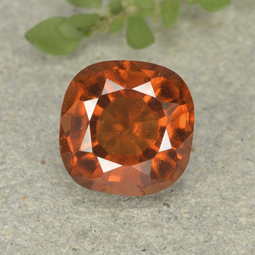 1.8ct Cushion-Cut Amber Orange Hessonite Garnet Gem (ID: 499241)