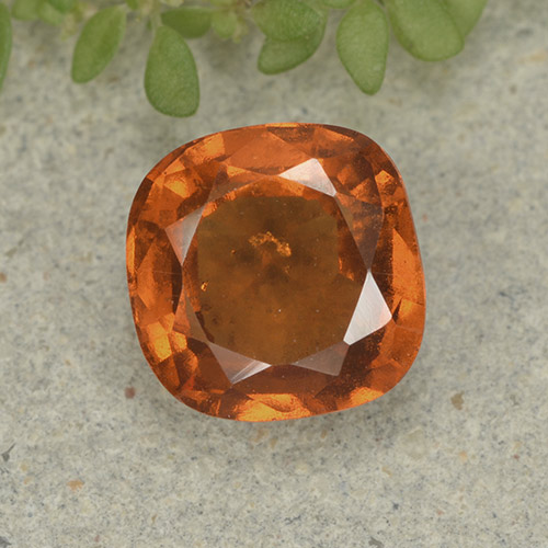 1.9ct Cushion-Cut Medium-Dark Orange Hessonite Garnet Gem (ID: 499242)