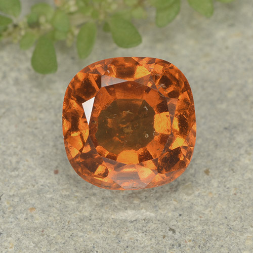 1.9ct Cushion-Cut Yellowish Orange Hessonite Garnet Gem (ID: 499243)