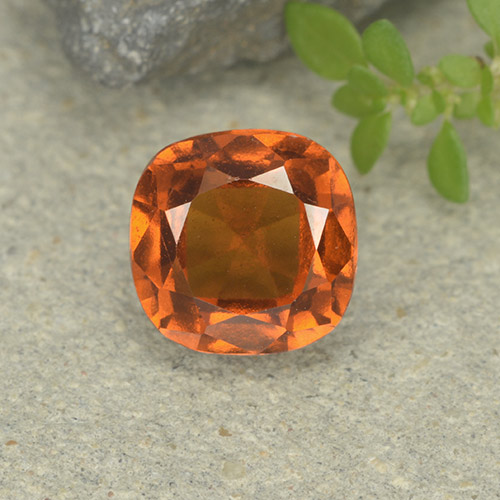 2ct Cushion-Cut Yellowish Orange Hessonite Garnet Gem (ID: 499247)