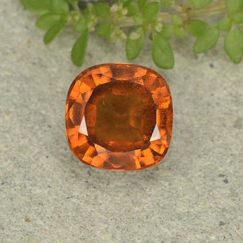 1.8ct Cushion-Cut Medium Orange Hessonite Garnet Gem (ID: 499250)