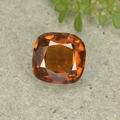 1.6ct Cushion-Cut Deep Orange Hessonite Garnet Gem (ID: 499252)
