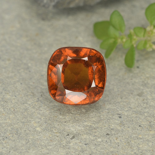 1.8ct Cushion-Cut Medium-Dark Orange Hessonite Garnet Gem (ID: 499253)
