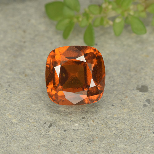 1.9ct Cushion-Cut Deep Orange Hessonite Garnet Gem (ID: 499254)