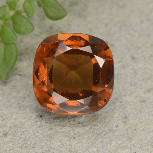 2ct Cushion-Cut Deep Orange Hessonite Garnet Gem (ID: 499262)