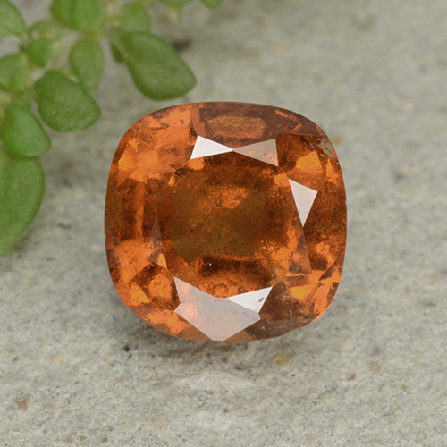 1.9ct Cushion-Cut Deep Orange Hessonite Garnet Gem (ID: 499264)