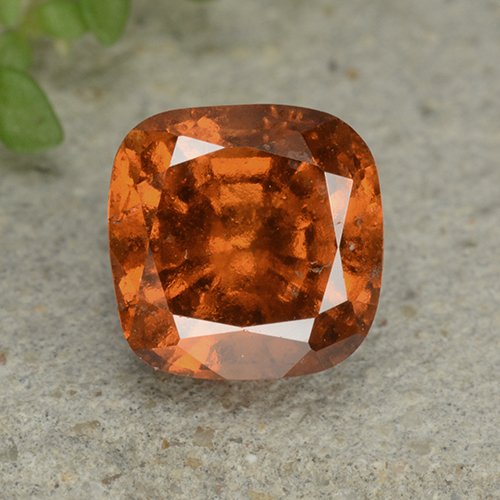 1.8ct Cushion-Cut Deep Orange Hessonite Garnet Gem (ID: 499267)
