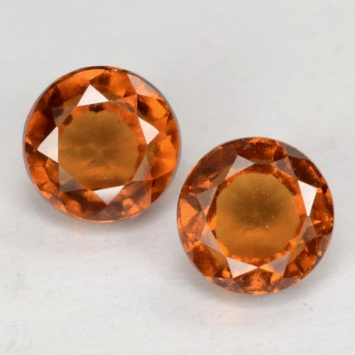 Medium-Dark Orange Granate Hesonita Gema - 0.9ct Faceta Redonda (ID: 539678)